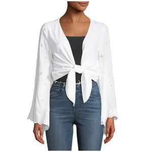 Flare-Sleeve Tie Front Eyelet Cardigan Sz S or L